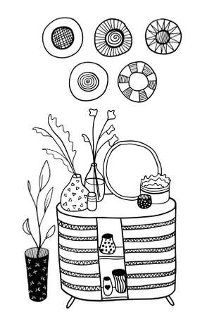 vector free hand drawn chest of drawers with many various house plants and hats