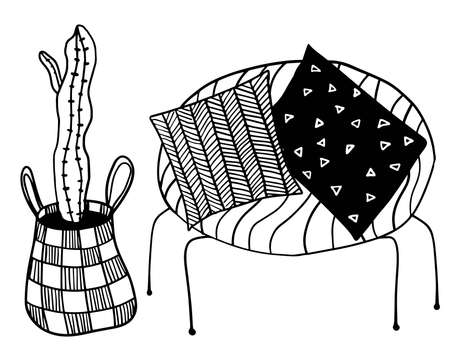 vector cartoon armchair with pillows and big cactus illustration