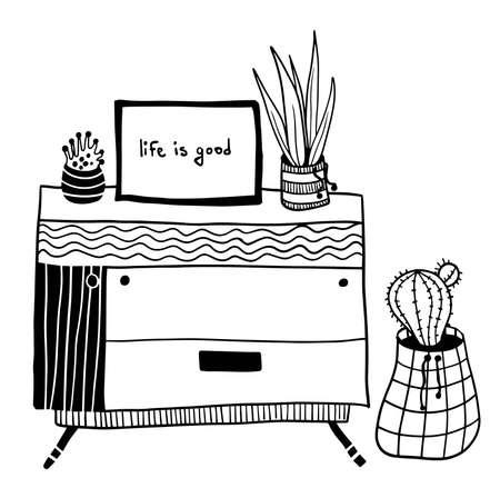vector wooden chest of drawers with various house plant, cactus and poster Ilustrace