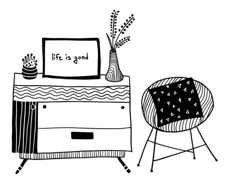 vector design elements: chest of drawers with plants and armchair with pillows Ilustrace