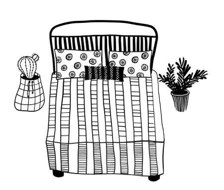 vector free hand drawn bed with pillows and house plant in the pots