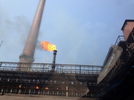 steel: Blast furnace at the Mittal steel plant South Africa