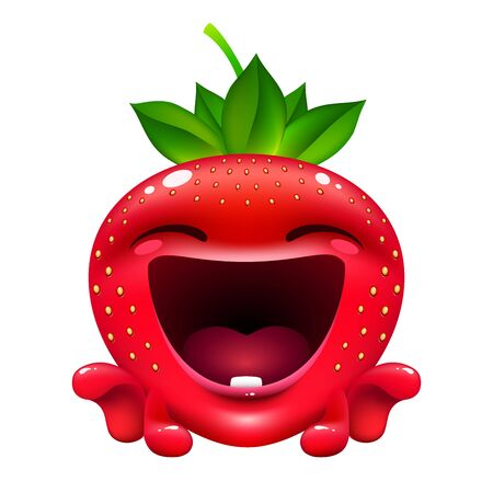 funny emotion strawberry. cute fruit character is laughing on white background