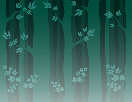 trunks of trees with branches and leaves. seamless pattern dark wilde forest. wallpaper. vector illustration
