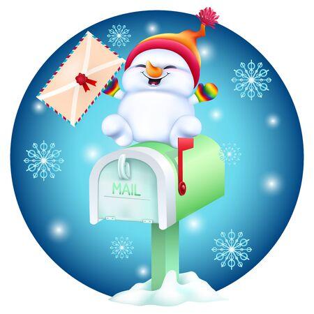 cute cartoon snowman with postcard in hand on mailbox Ilustracja