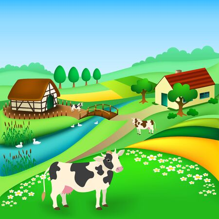 Rural landscape with houses, cows grazing, gooses on river, fields, trees. Village in the summer. vector illustration