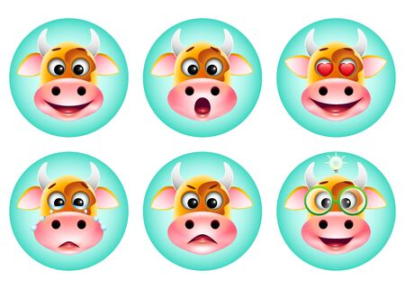 icons set of cute cartoon emotion cow on blue background. Happy, cry, surprised, love, idea, angry emoticons. Vector illustration. Vettoriali