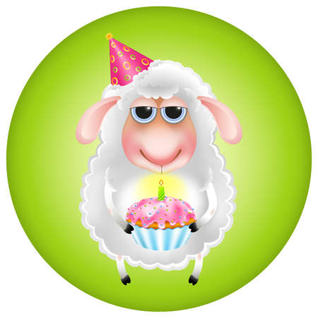 funny cartoon fluffy sheep with a cupcake congratulated on his birthday