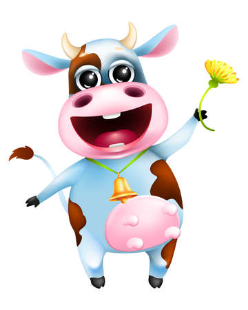 Cute cartoon emotional cow with golden bell and yellow flower