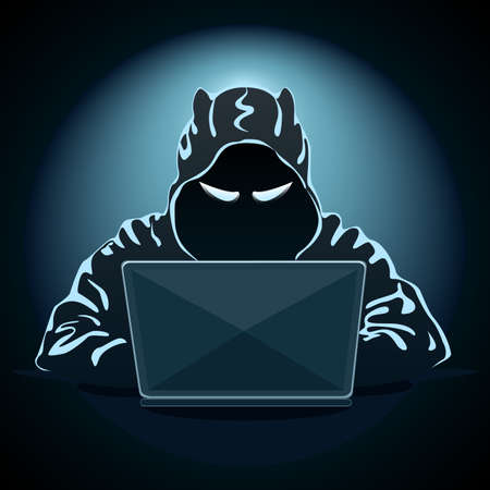 Mysterious hacker with laptop on dark background. Hacking the Internet. Cyber crime. Vector illustration. Illustration