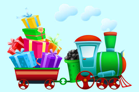 Colorful cartoon christmas train carries gifts. Steam locomotive with wagon on blue background. Vector illustration.