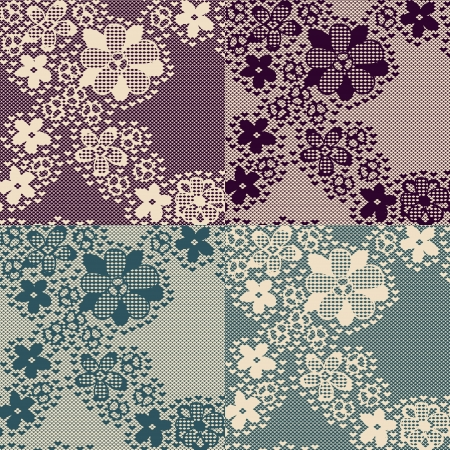 Seamless lace pattern with floral elements. Painted in 4 different styles. Stock Vector - 15408494
