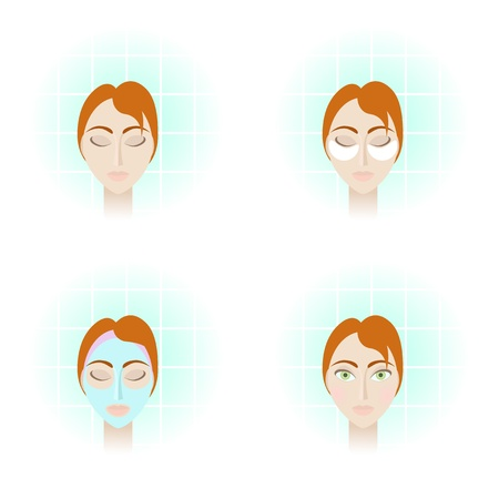 moisturizing: 4 pictures illustrating beauty care procedures. Objects grouped and named in English. No mesh, gradient, transparency used. Gradient used.