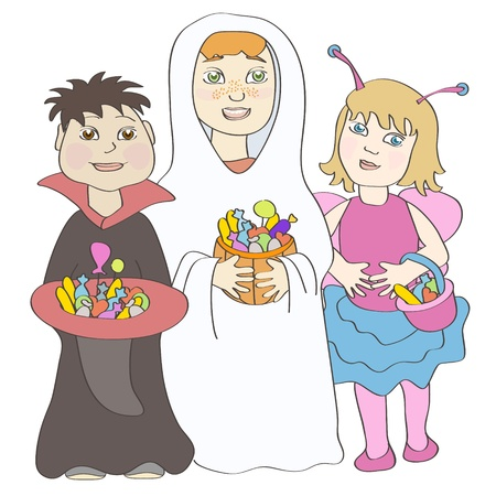 girls having fun:  Two boys and girl wearing halloween costumes and holding sweets   Illustration