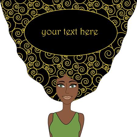 dibujos animados de mujeres: Mujer africana con el pelo negro estampado y el lugar para los objetos de texto agrupados y nombrados en Ingl�s No malla, gradiente, transparencia utilizada