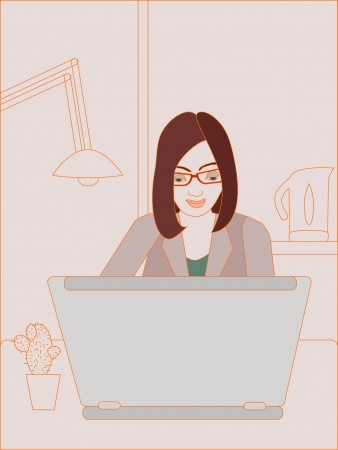 illustration of business woman working on laptop  No mesh and transparency used  Objects grouped and named in English   Vector