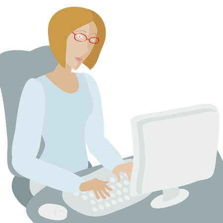 Young woman working at computer  No mesh, gradient, transparency used  Objects grouped and named in English   Stock Vector - 15563997