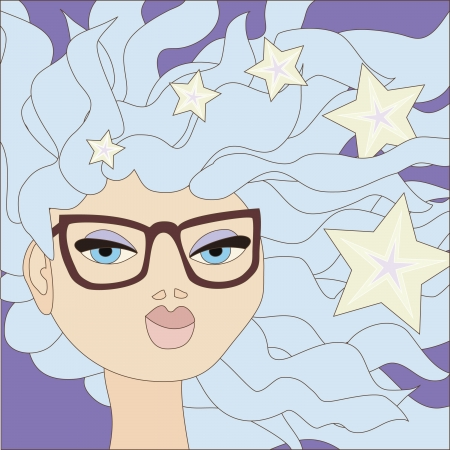 plump lips: Illustration of cartoon girl with blue hair wearing big glasses  No mesh and transparency used  Objects grouped and named in English