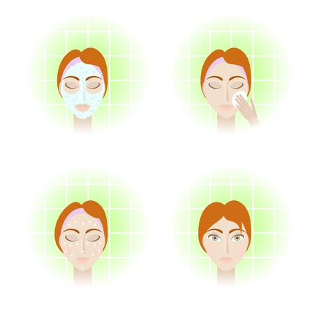 Illustration of face care stages - cleansing, toning, moisturizing and final result Objects grouped and named in English No mesh, gradient, transparency used Gradient used