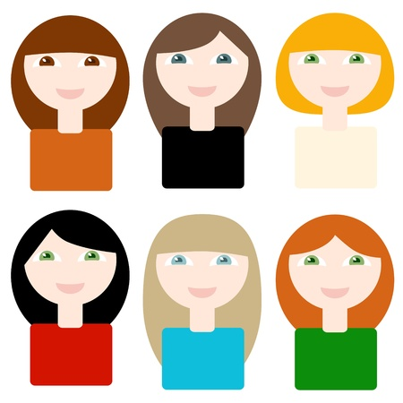 6 different smiling cartoon women on white background  Objects grouped and named in English  No mesh, gradient, transparency used Stock Vector - 15564004