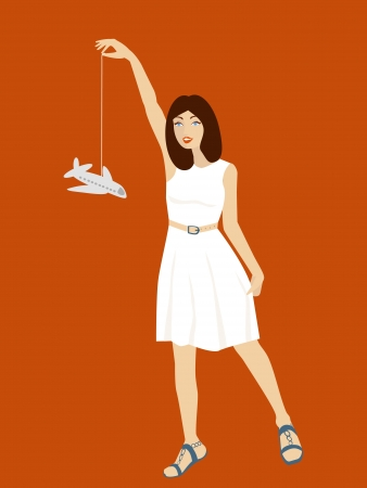 illustration of girl in white dress with bright smile holding plane on string  Stock Vector - 15564007
