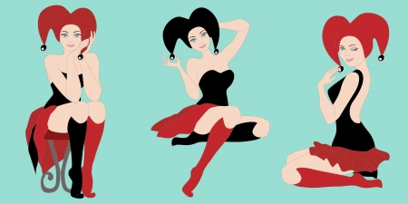 3 hot joker girls on turquoise background. No mesh and transparency used.  Vector