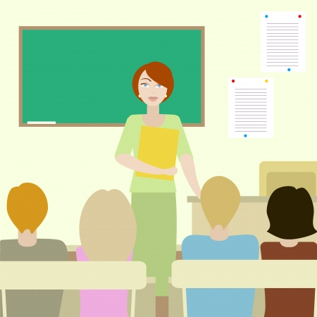 4 students listening to a teacher in a classroom. No mesh, gradient, transparency used. Objects grouped and named in English.  Vector