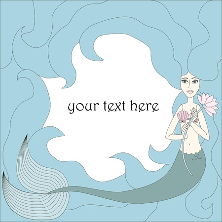 Mermaid with blue hair forming frame for text or images. No mesh, gradient, transparency used. Objects grouped and named in English. Stock Vector - 15579243
