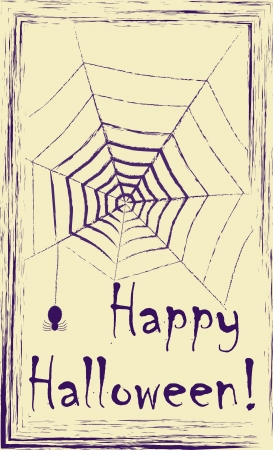 spider net: Vintage design postcard with purple ink drawing of spider and spider net on yellow paper. No mesh,gradient, transparency used. Objects grouped and named in English.