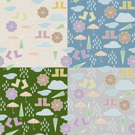 Seamless pattern with rain drops shoes and umbrellas. 4 variants af background color. No mesh, gradient, transparency used. Objects grouped and named in English. Stock Vector - 15603058