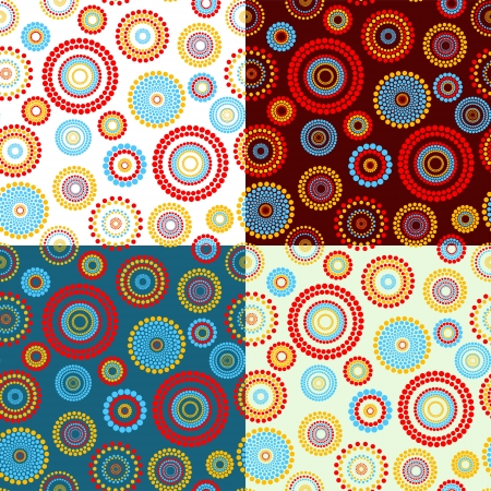 Abstract seamless pattern made of blue, red and yellow circles, 4 variants of background color. No mesh, gradient, transparency used. Objects grouped and named in English.