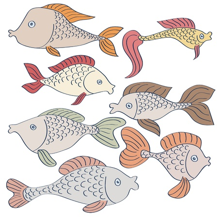 Set of hand-drawn cartoon fishes Stock Vector - 15703032