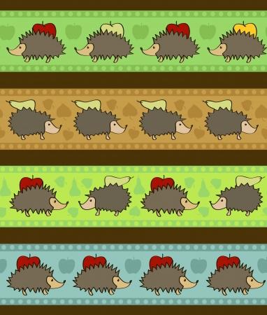 Set of 4 decorative borders with cartoon hedgehogs Stock Vector - 15703027