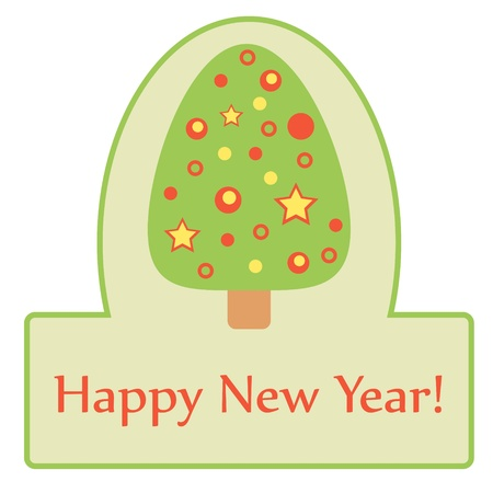 Green label with cute Christmas tree  Stock Vector - 15703033