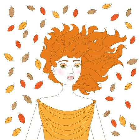 redhead woman: Giovane donna rossa con foglie d'autunno un sacco volare intorno a lei