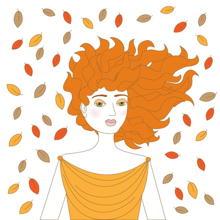 Young redhead woman with plenty autumn leaves flying around her   Stock Vector - 15729714