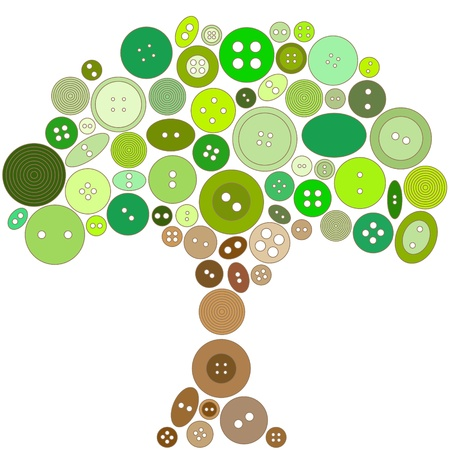 Tree made of green and brown buttons  No mesh, gradients, transparency used  Objects grouped and named in English   Stock Vector - 15800977