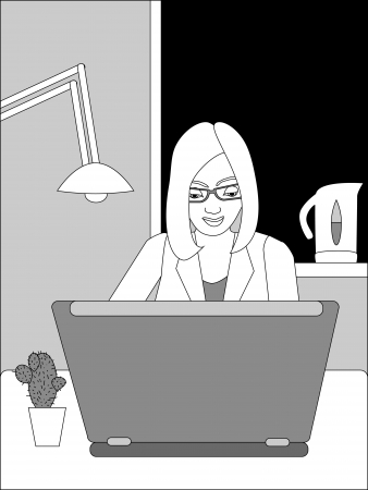 Black and white illustration of business woman working on laptop  No mesh and transparency used  Objects grouped and named in English  Stock Vector - 15800969