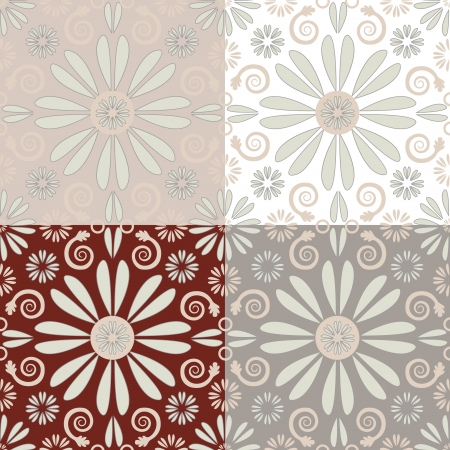 Abstract floral seamless pattern with 4 variants of background color  Objects grouped and named in English  No mesh, gradient, transparency used   Stock Vector - 15800981