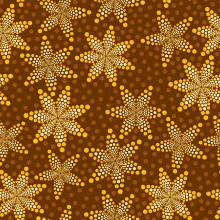 Brown seamless pattern made of abstract flowers and polka-dots Stock Vector - 15800990