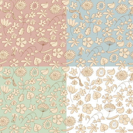 Seamless background made of beige wildflowers  4 variants of background color  Objects grouped and named in English  no mesh, gradient, transparency used Stock Vector - 15800984