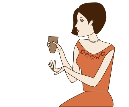 Brunette woman holding coffee cup on white background