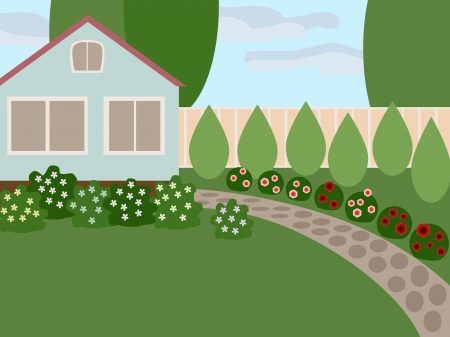 Country house with lawn and blooming flowers in the yard