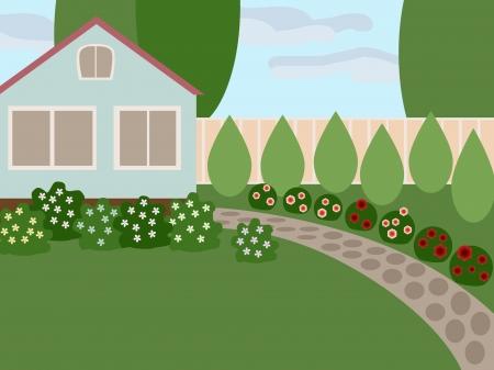 datcha: Maison de campagne avec pelouse et fleurs en fleurs dans la cour