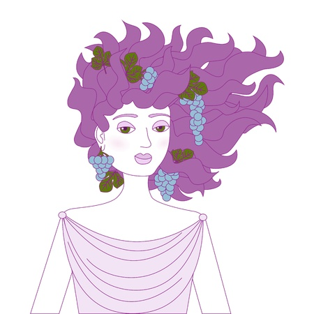 Young woman with grape bunches in her hair drawn in purple colors Stock Vector - 15828111