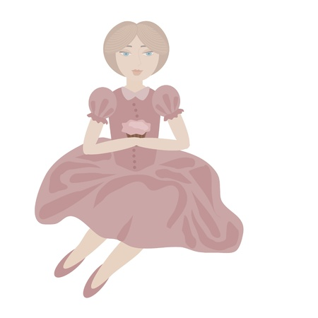 illustration of blonde girl in vintage pink dress holding cupcake in her hands Stock Vector - 15828075