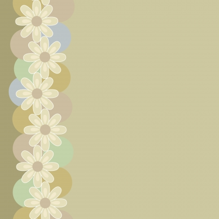 Vertical seamless vintage pattern made of colorful circles and beige daisies