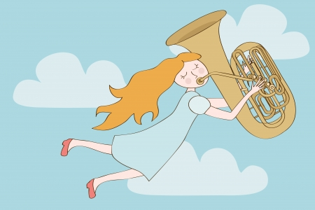 tuba: Happy redhead girl flying in the sky and playing tuba