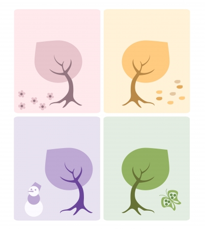Set of 4 cards with seasons trees Stock Vector - 15828820