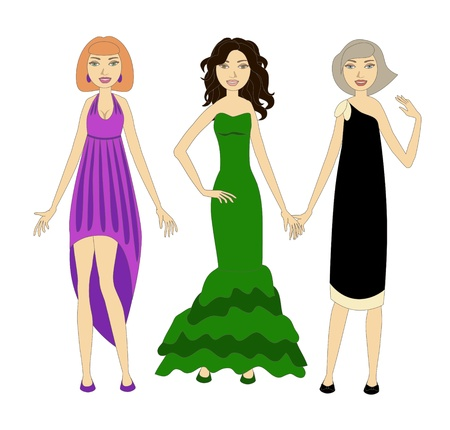 Three young women wearing fashionable evening dresses